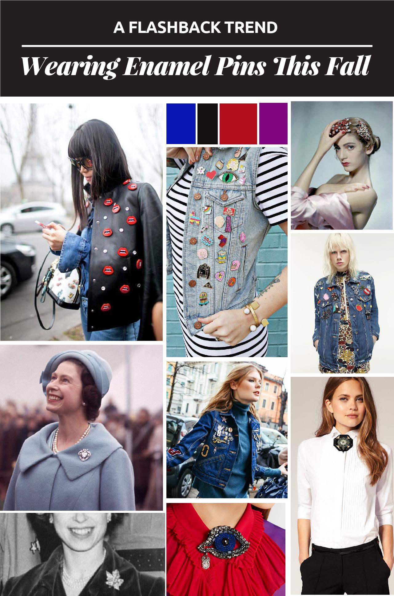 UNA TENDENCIA DEL PASADO: LUCIENDO BROCHES DE ESMALTE // Los broches de esmalte son la última tendencia del otoño 2016. Esta tendencia divertida puede convertir cualquier chaqueta aburrida en una pieza elegante.