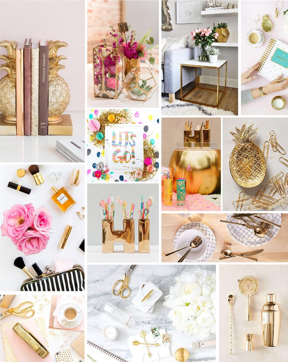 Una guía de cómo incorporar el dorado en tu estilimo de fotos productos. Apreden a como usarlo en tu branding y no te pierdas la lista de props dorados.