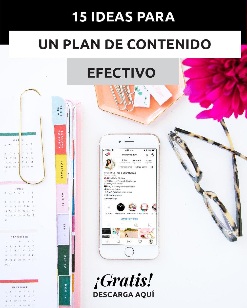 Foto de un escritorio con celular e Instagram | La clave de un buen perfil en las redes sociales es tener un excelente plan de contenido. Aprende a crear uno de forma rápida y efectiva. ¡GRATIS!