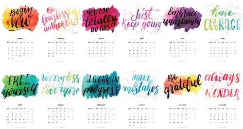 Calendario 2017 Con Frases De Inspiración- GRATIS