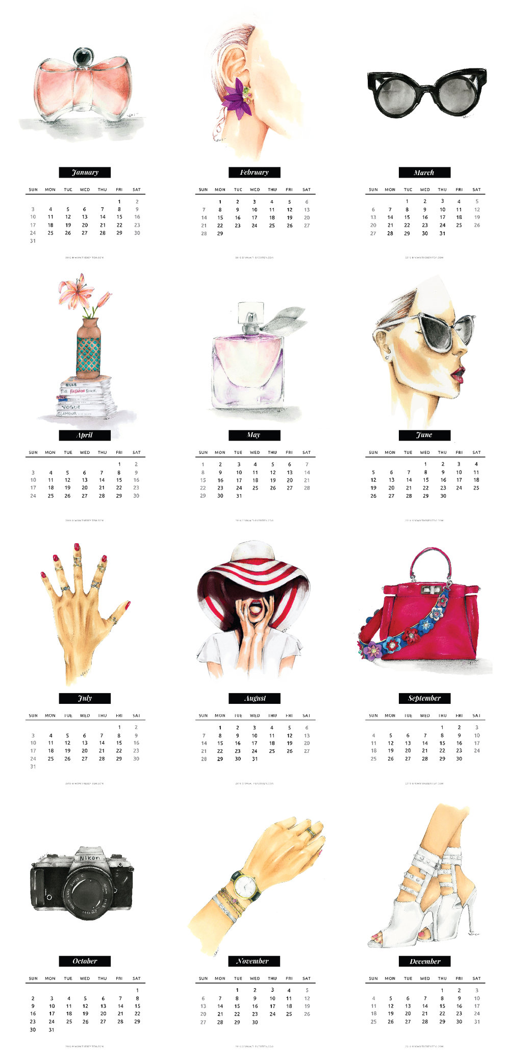Calendario Ilustrado 2016 Gratis // Calendario ilustrado GRATIS del 2016 que puedes utilizar para planear tus metas o para regalar a tus amigos esta Navidad. ¡DESCARGALO AHORA!