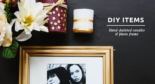 DIY Items // Hand Painted Candles & Photo Frame