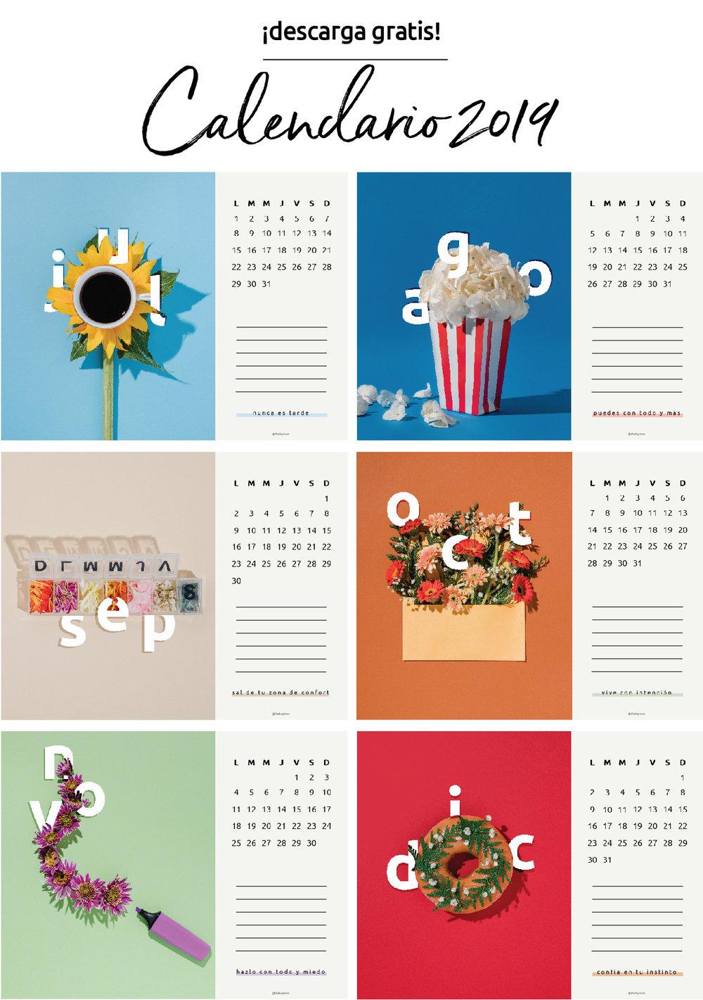 El calendario 2019 ya está disponible. Espero que este calendario te sirva como inspiración para planificar sus metas y llevar a cabo todos tus proyectos en este 2019. ¡DESCARGA GRATIS! #TKICalendar