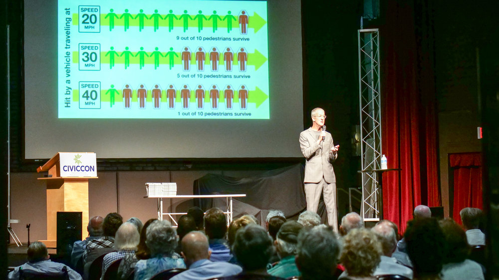 Urban planner Jeff Speck at the Rex Theatre on Sept. 17.