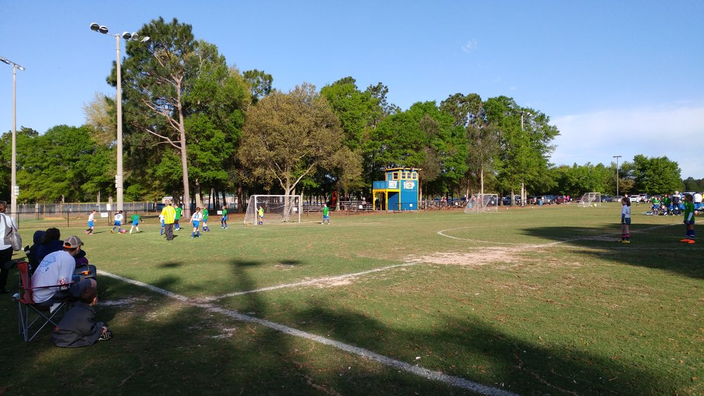 Three soccer fields crammed onto a single football field at Roger Scott Athletic Complex during a recent season.