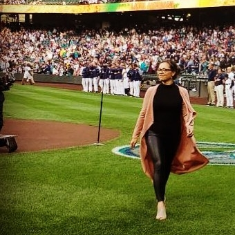 Our own Tess Altiveros after singing the National Anthem at Safeco Field.
