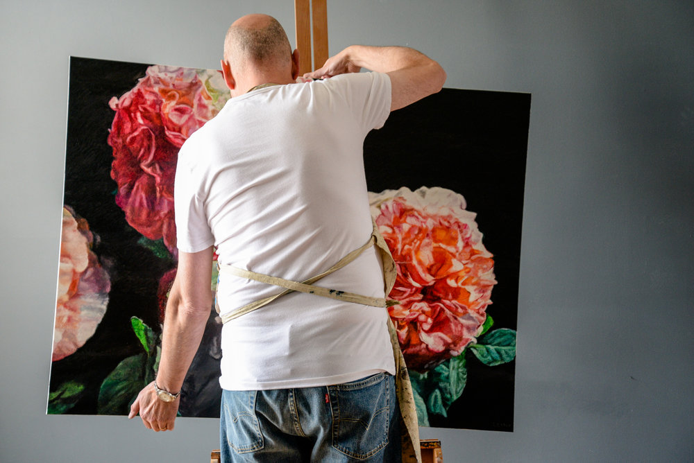 Robert Lemay with Roses painting