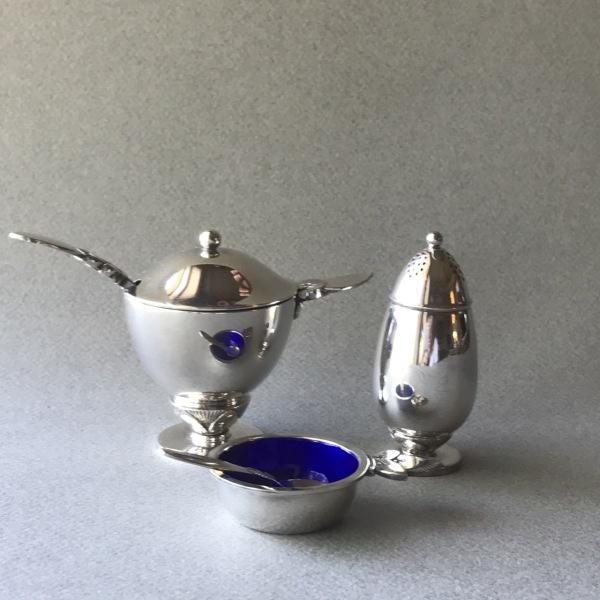Evald Nielsen Salt Dish with Blue Enamel in Sterling Silver