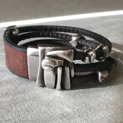 Georg Jensen Leather And Sterling Silver Bracelet No 311 By Anette