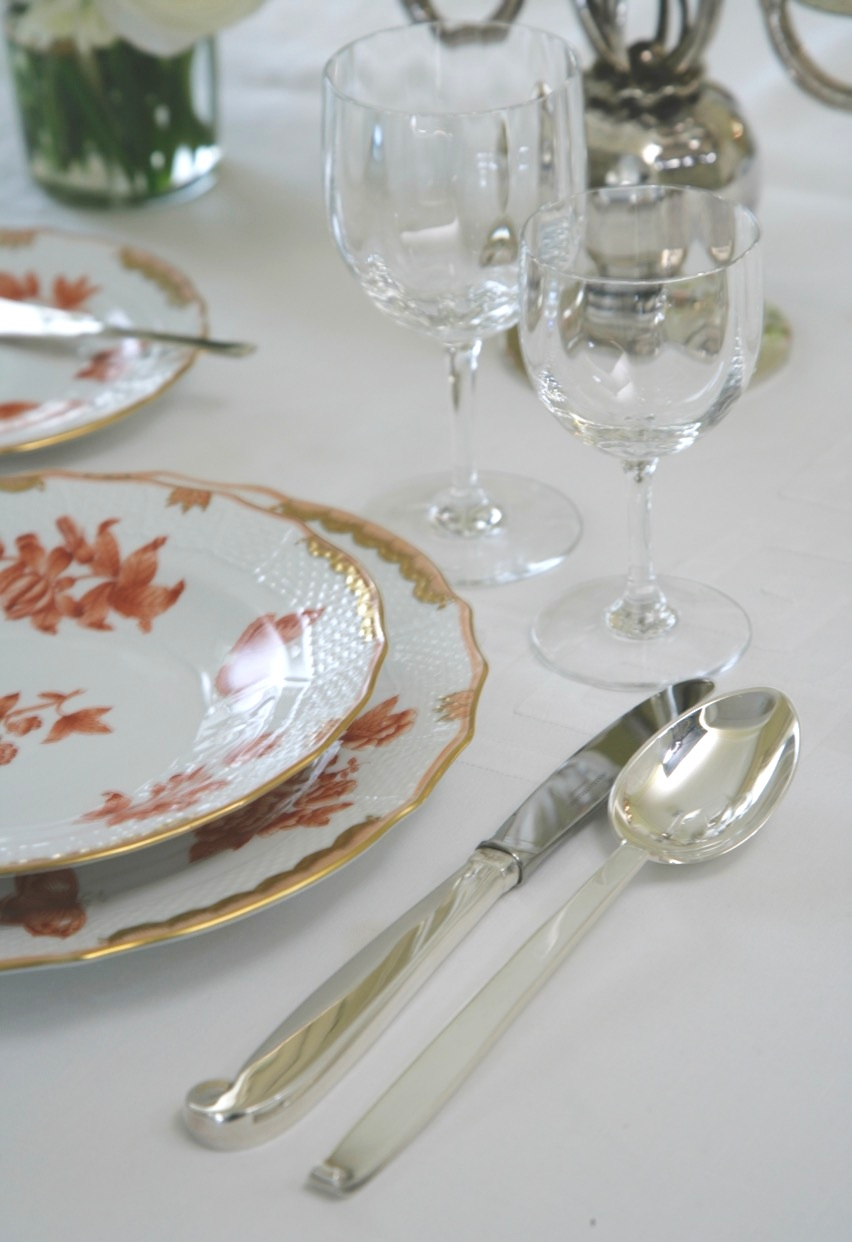 """Exceptional Sterling Silver Tableware and Porcelain By the Finest Makers - FEATURED HERE IS HEREND ''FORTUNA RUST"""" & EVALD NIELSEN STERLING SILVER PATTERN NO. 29"""