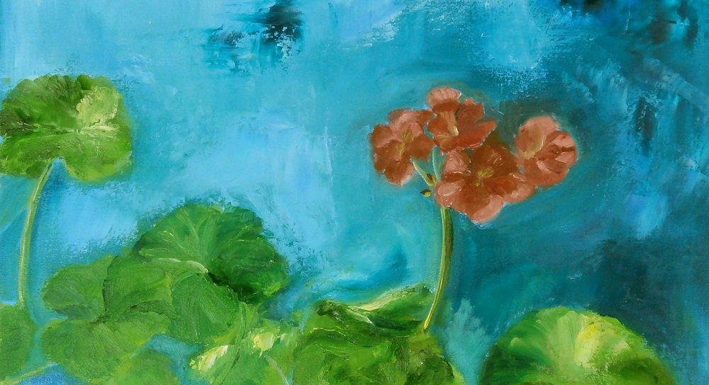 J'ai toujours des géraniums rouge dans mon atelier l'hiver.. leur persévérence me stimule