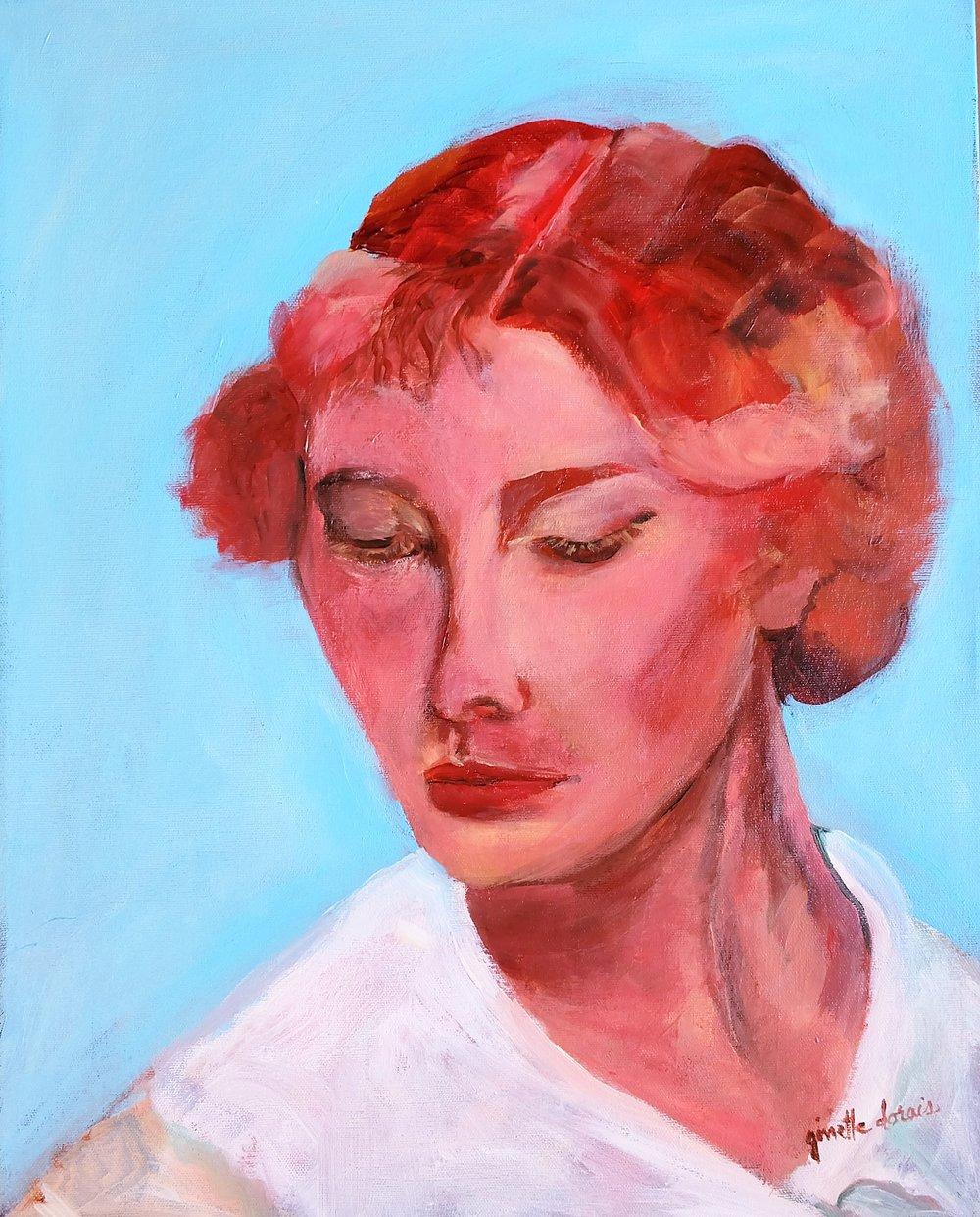 Femme Cancer Huile, 20 X 16 po. @ ginette dorais