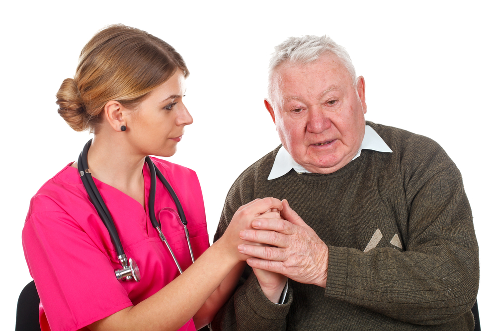 Old aged man with doctor