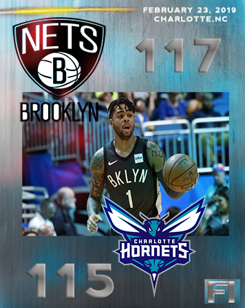 All-Star D'Angelo Russell and the Brooklyn Nets defeat the Charlotte Hornets 117-115, Saturday, February 23, 2019.