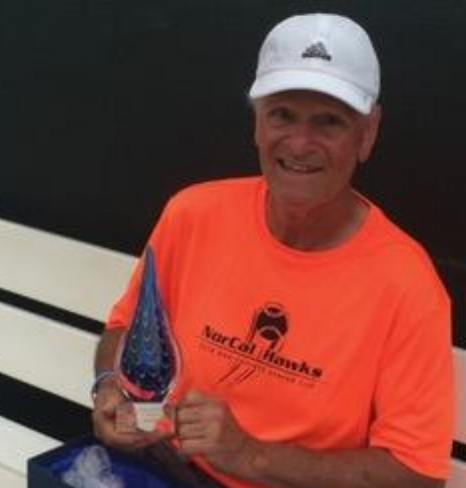 Bruce Lameroux with his trophy from the 2018 Indian Wells Senior event