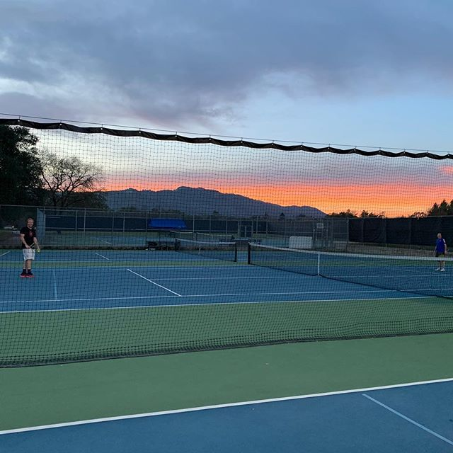 After smoke, then rain, we're back on the courts in Sonoma enjoying the sunsets