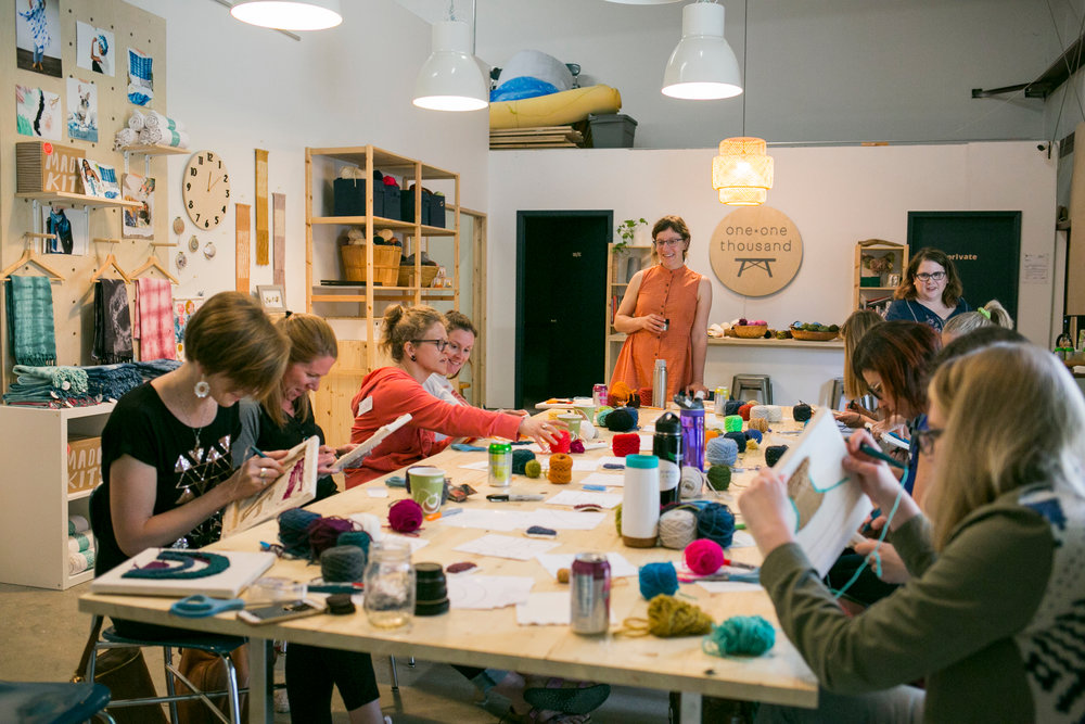 rug hooking workshop at One-OneThousand