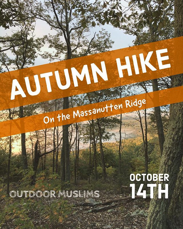 Join us on Oct 14 for a scenic backcountry hike on the Massanutten Ridge just outside of Front Royal, VA. We'll trek 7.5 miles through the changing forest and up to the famed Massanutten Trail with sweeping views of Shenandoah Valley. For more info and to RSVP, see the link in our profile. We hope to see you there! Happy trails! . . #OutdoorMuslims #findyourpark #diversifyoutdoors #optoutside #unlikelyhiker #thegreatoutdoors #theadventuregap #alltrails #diversity #brownpeoplecamping #representationmatters #hiking