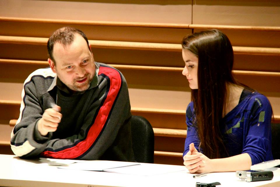 Working with Derek Bermel during the reading of my piece for the New York Youth Symphony