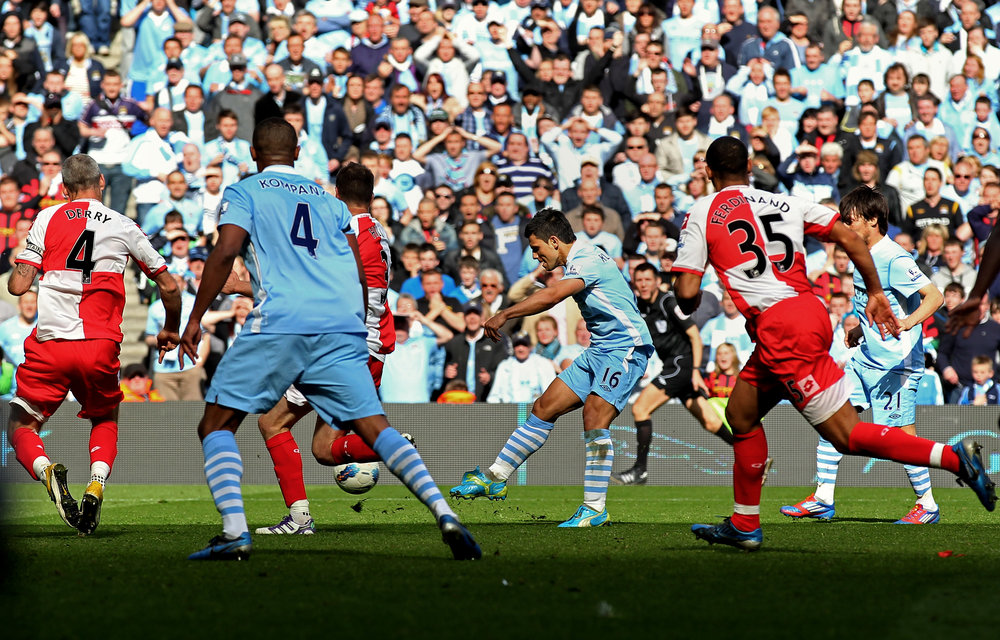 Manchester City's Sergio Agüero, final day of the 2011–12 season. (Alex Livesey/Getty Images)