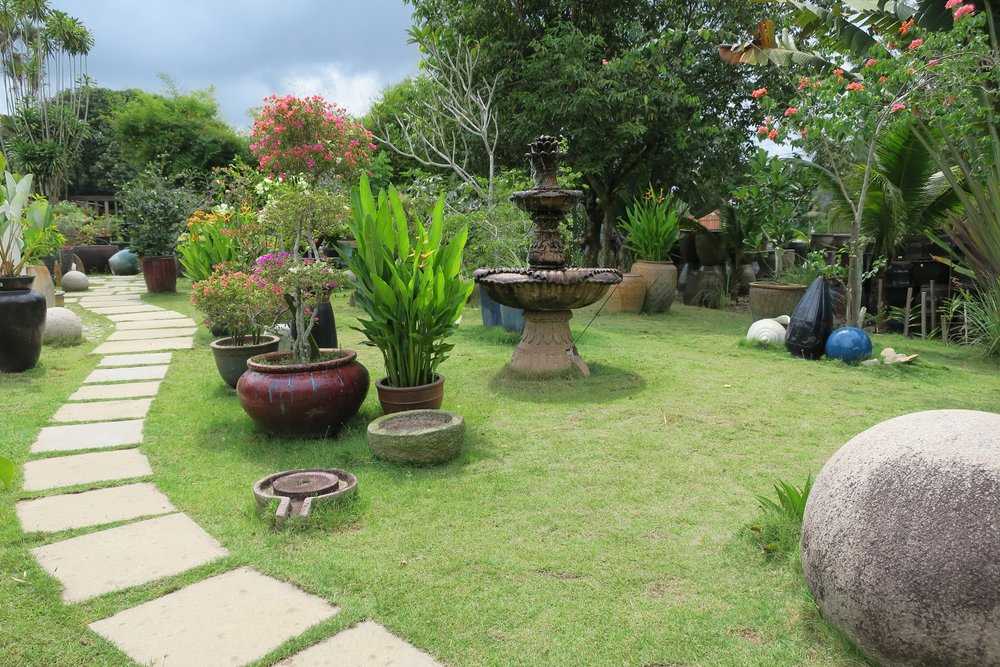 A section of the matured garden at Aw Pottery Studio