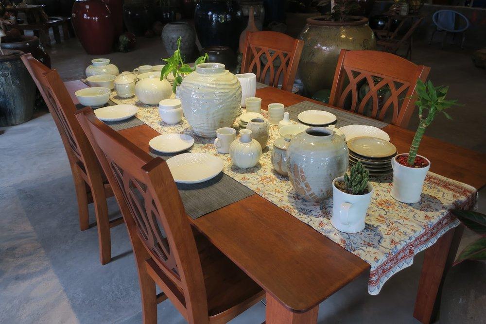 A range of handmade ceramic tableware created by Japanese guest artist, Hiroshi Taruta