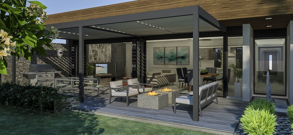 Living room with solar pergola and deck