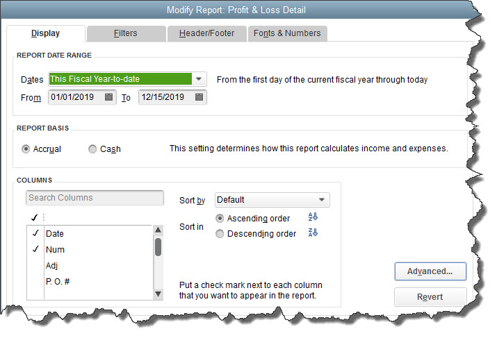QuickBooks lets you modify the columns that appear in reports.