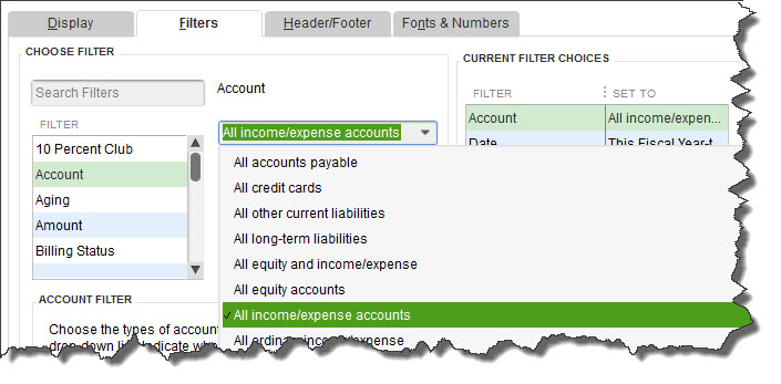 QuickBooks report    Filters    screen