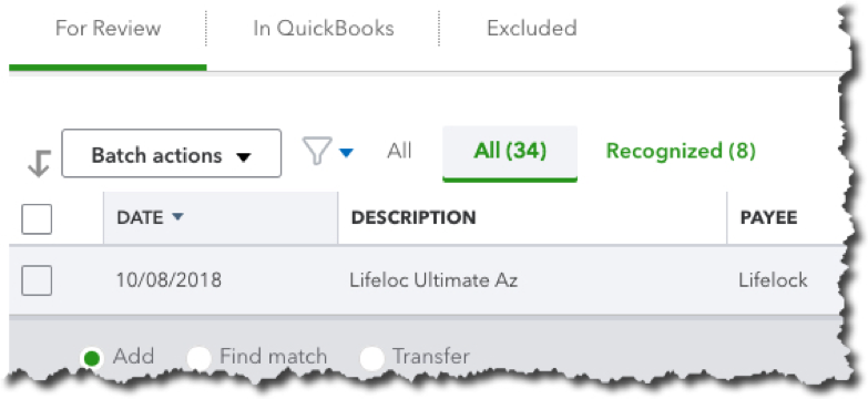 When you first download transactions into QuickBooks Online, before you've done anything with them, many will appear under    For Review   .