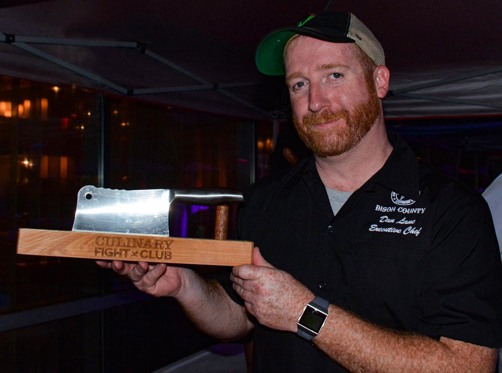 Chef Dan Lane, a winning chef with his trophy - 2018 Boston CULINARY KNIFE FIGHT