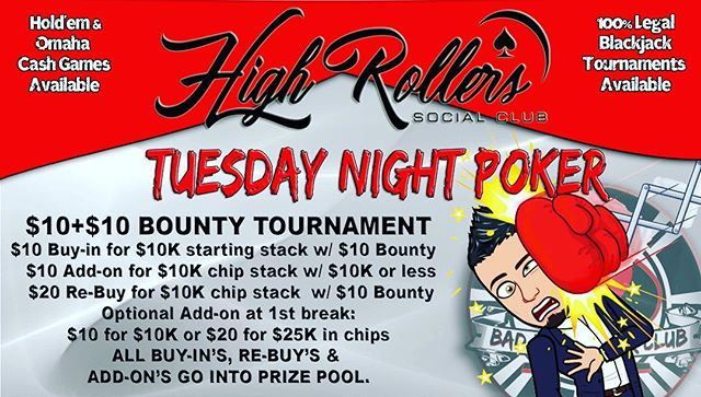 Join us for tonight's Bounty Tournament! Tuesday 1/22 @7pm! ♠️ #HighRollersSocialClub