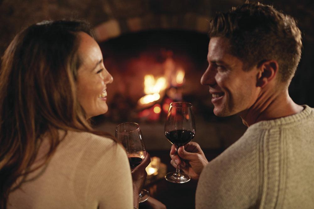 Romantic Couple Fire Wine