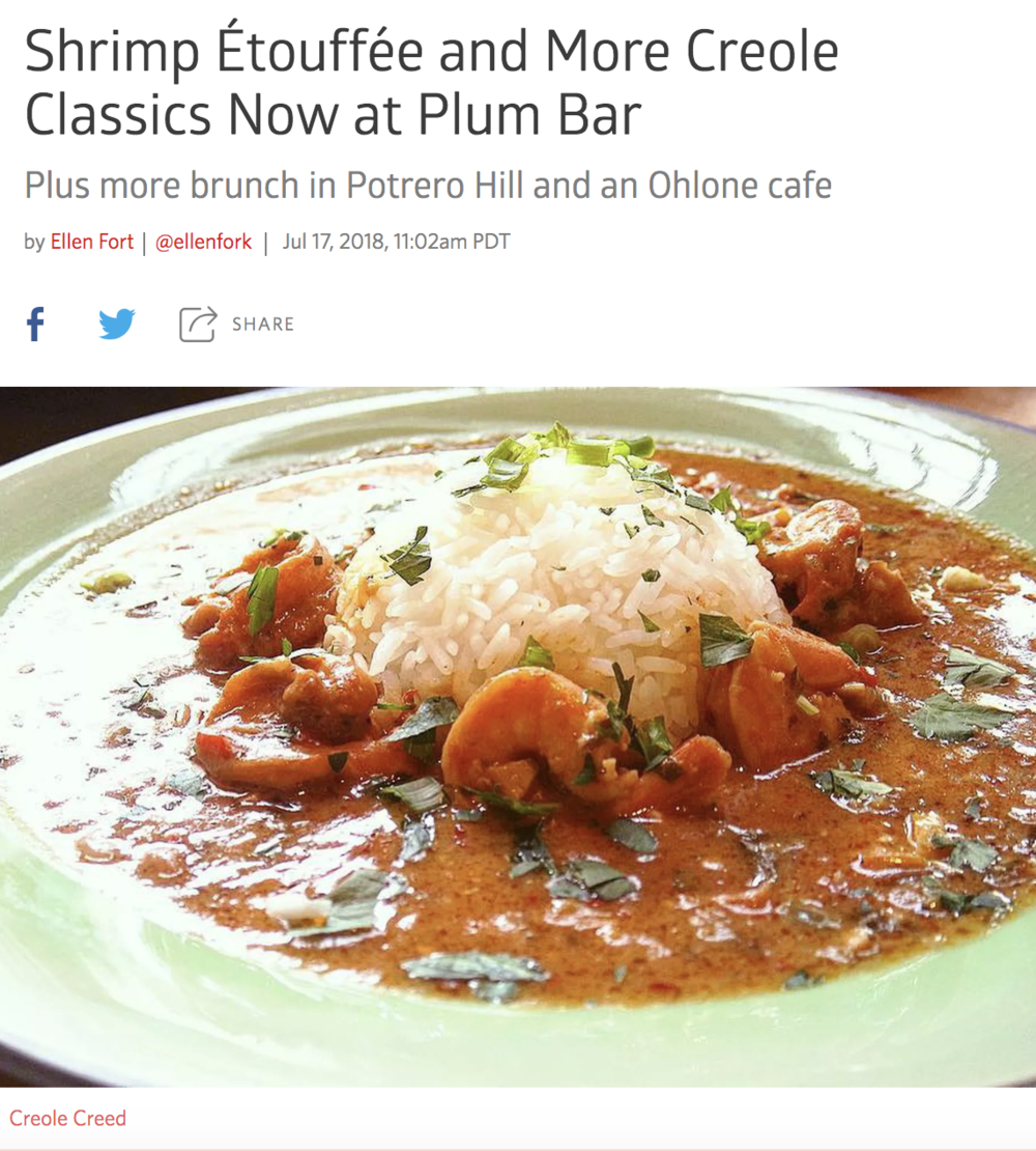 Spotlighting creed ÉtouffÉe - We are so honored for the mention! This is such a big feat for Creole Creed, as we enter the third week of our three-month residency with Plum Bar. We are so excited to be serving our traditional Louisiana Creole cuisine with our unique