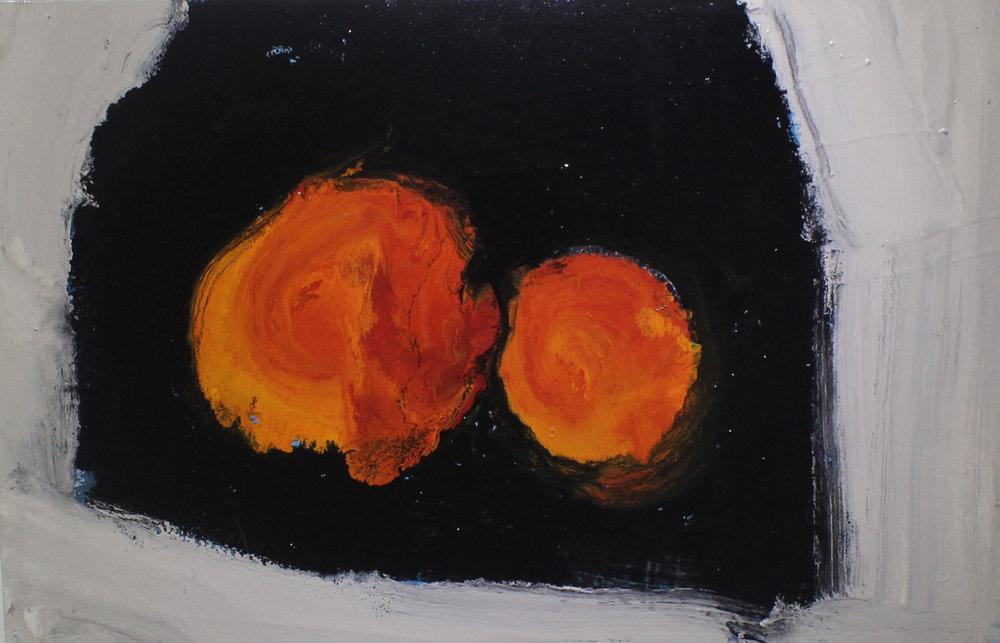 Two oranges I, 2014, enamel paint on canvas, 91 x 61 cm