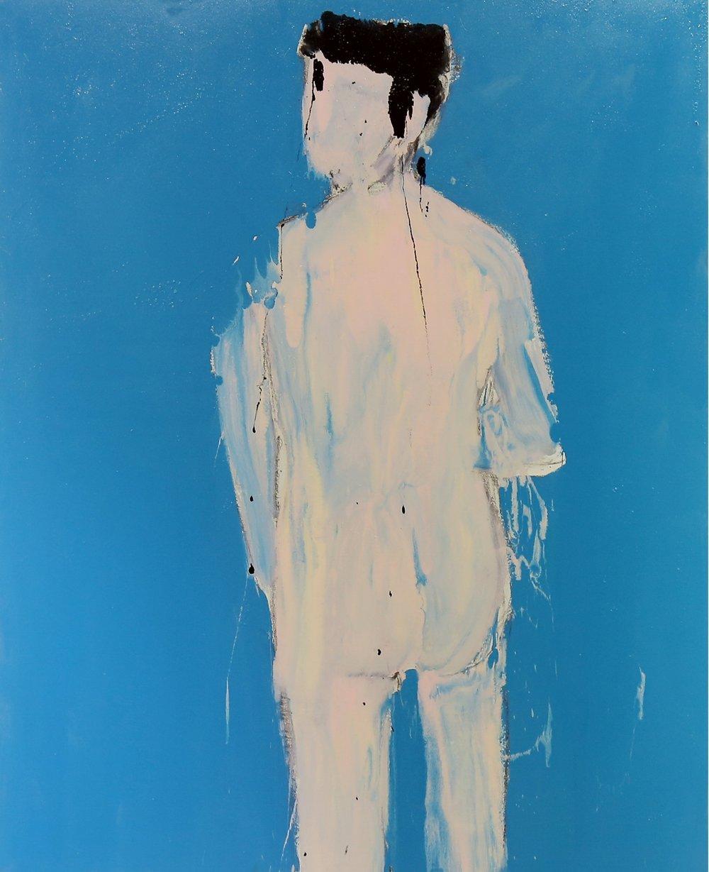 Nude I, 2016, enamel paint on canvas, 168 x 137 cm