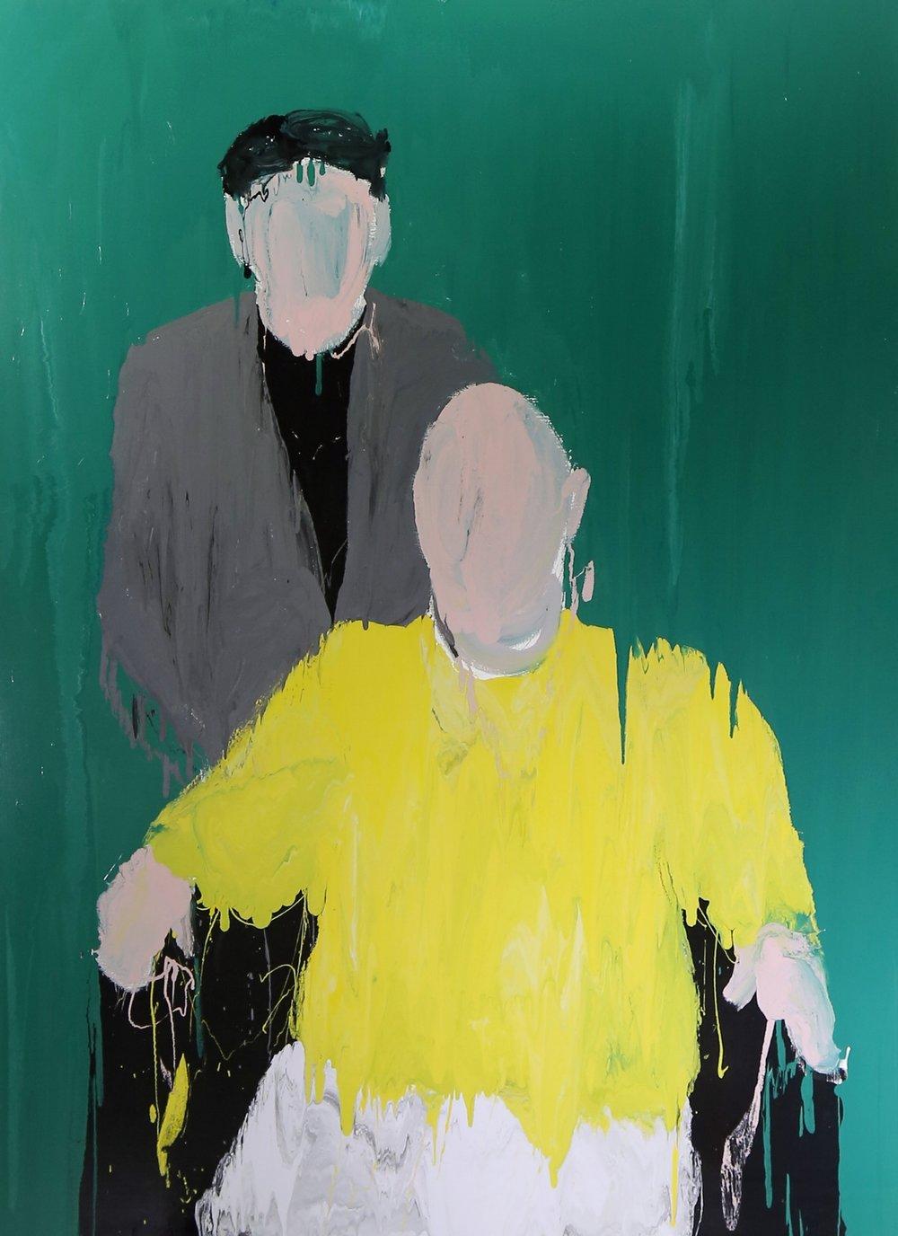 Family portrait III: Roman and Vittorio, 2016, enamel paint on canvas, 229 x 168 cm