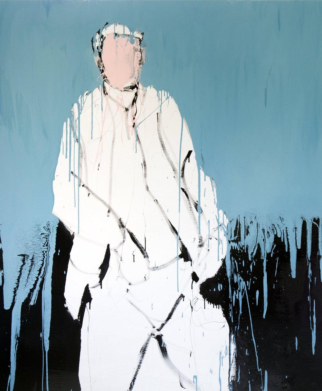 Farhan I, 2017, enamel paint on canvas, 198 x 168 cm