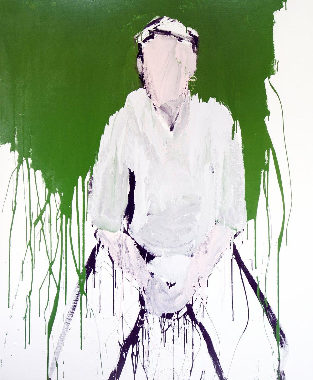 Farhan II, 2017, enamel paint on canvas, 198 x 168 cm
