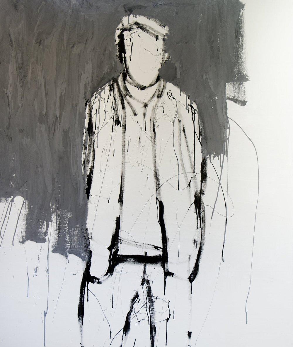 Farhan III, 2017, enamel paint on canvas, 198 x 168 cm