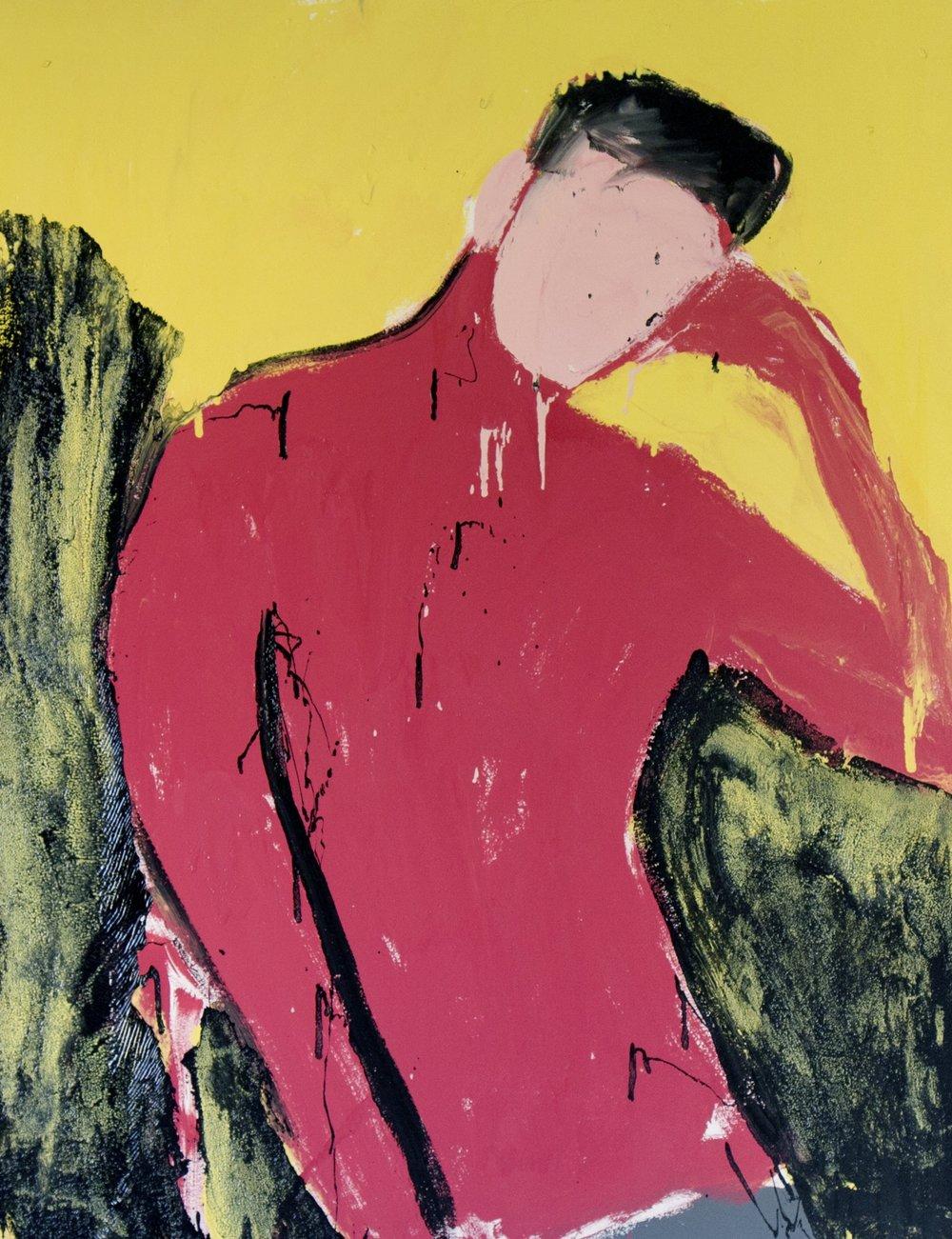 Awais II, 2017, enamel paint on canvas, 137 x 107 cm