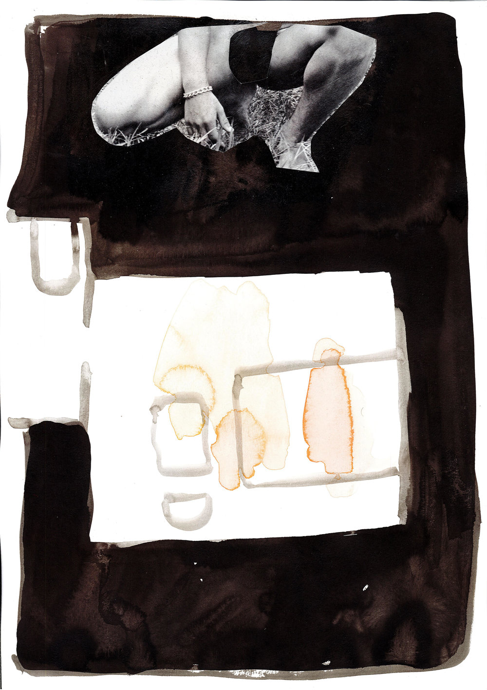 """The '""""Study"""", 2018, collage and indian ink on paper, 30 x 40 cm"""