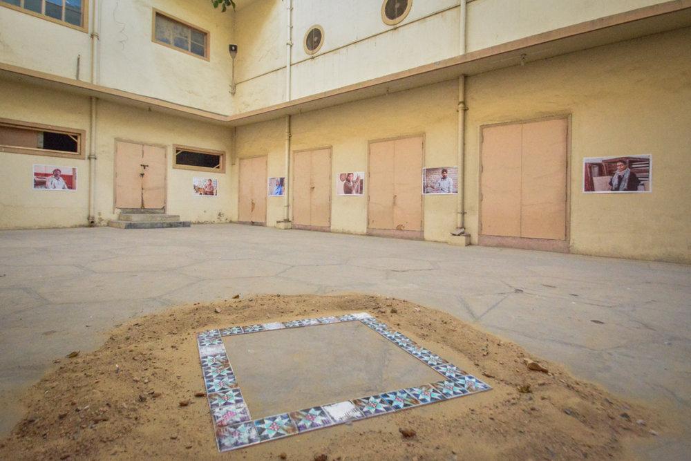 Jamshed Memorial Hall Courtyard Aysha Bilal (photographs) and Maryam Hasnain (foreground installation) Photograph courtesy:  Zulfikar Ali Bhutto