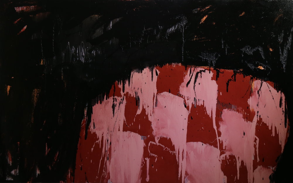 In a red bar, 2016, enamel paint on canvas, 168 x 229 cm