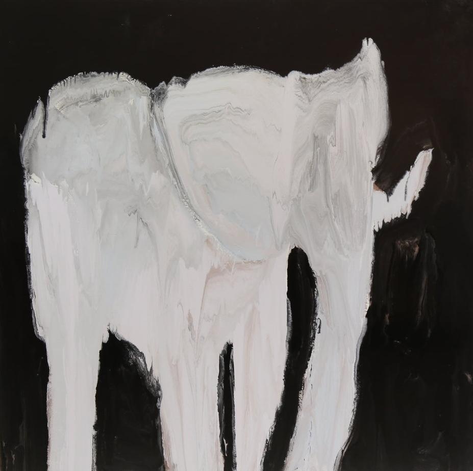Model town society won't allow an elephant, 2016, enamel paint on canvas, 168 x 168 cm