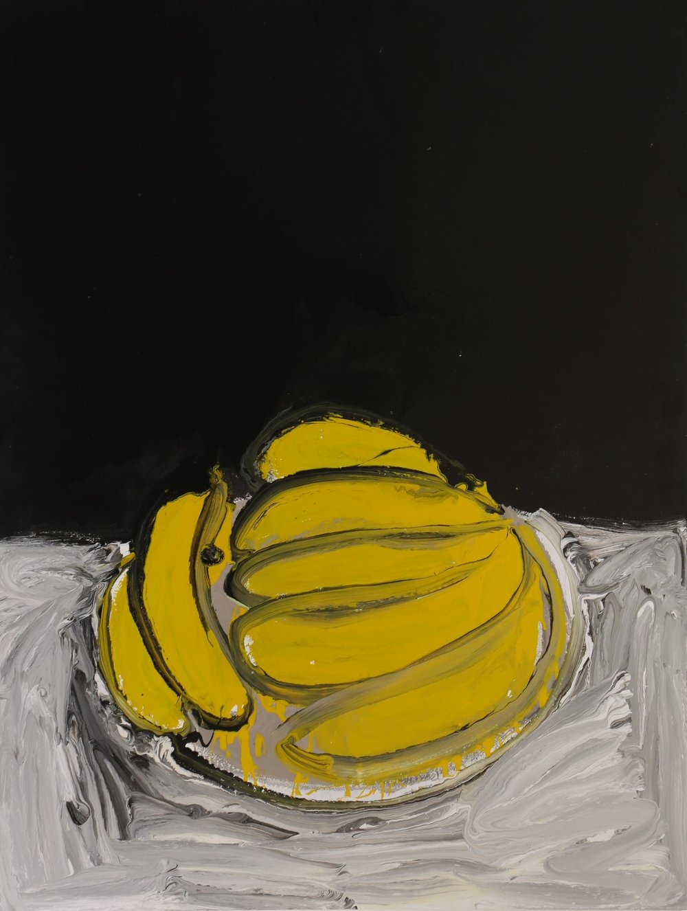 How can one banana be enough, 2016, enamel paint on canvas, 107 x 137 cm