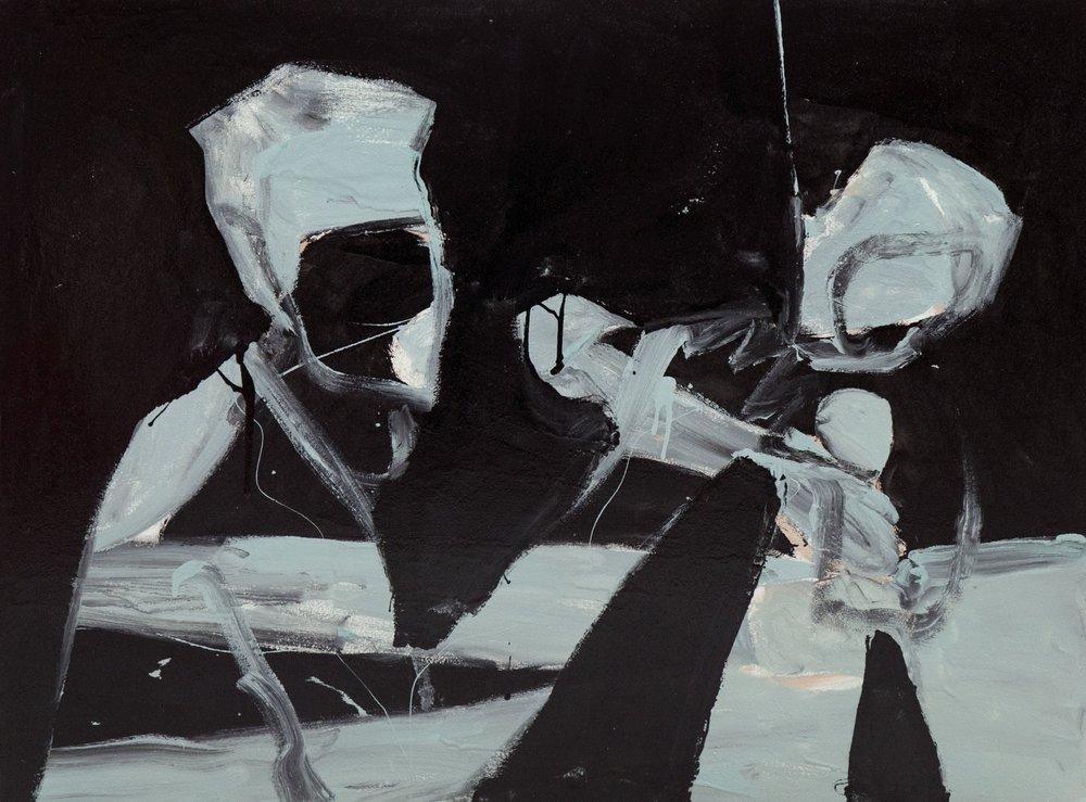 Singing, 2018, enamel paint on canvas, 91 x 122 cm