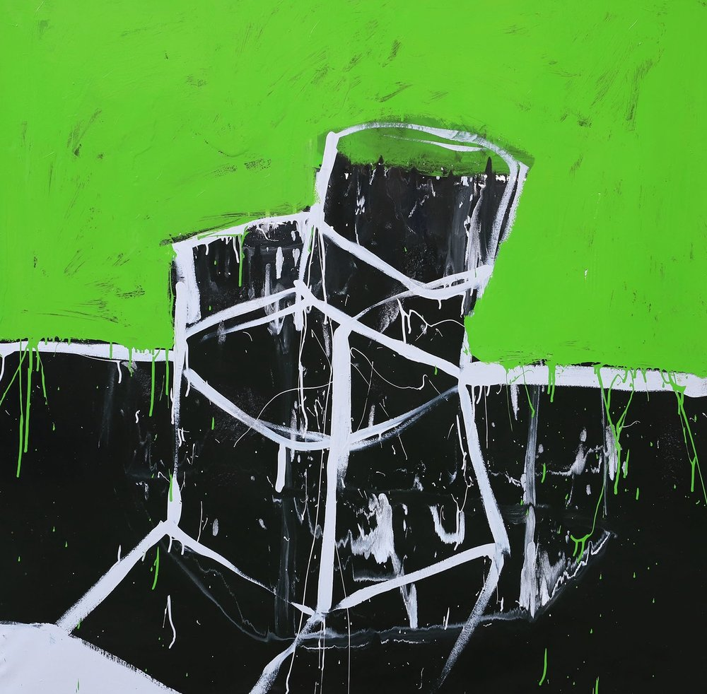 The chair returns I, 2018, enamel paint on canvas, 152 x 152 cm