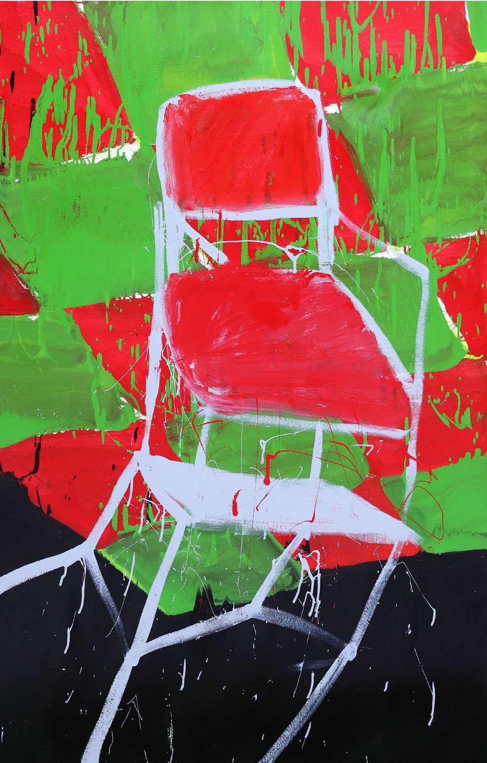 The chair returns II, 2018, enamel paint on canvas, 91 x 152 cm