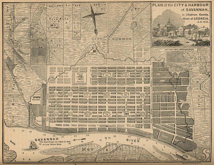 Savannah cityplan.  Wikimedia Commons
